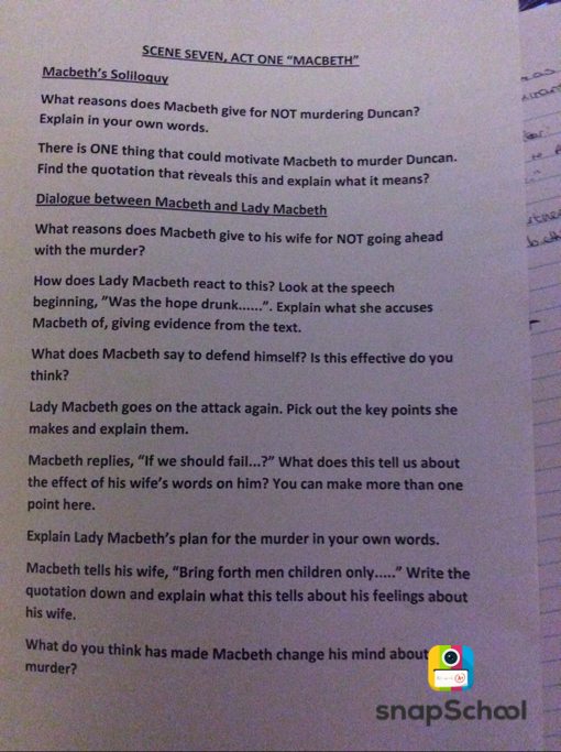 Macbeth homework